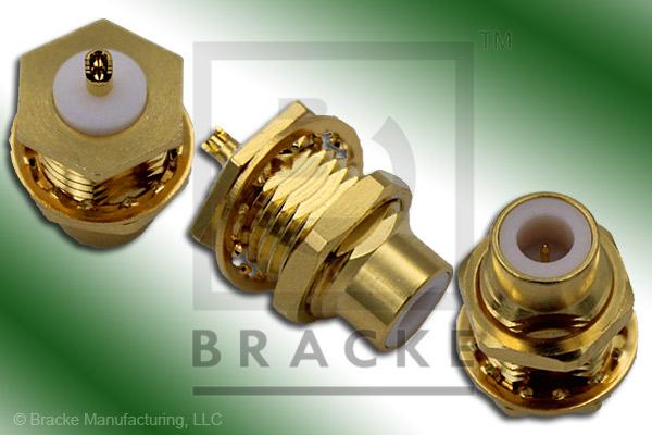 75 Ohm SMC Jack Bulkhead Rear Mount Connector Solder Cup Contact
