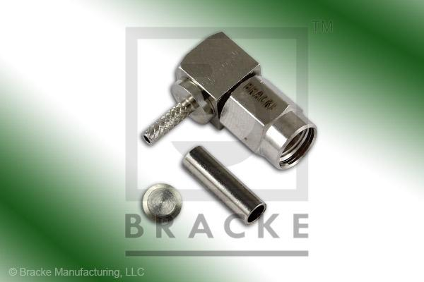 SSMA Male Right Angle Connector Crimp RG178, RG196