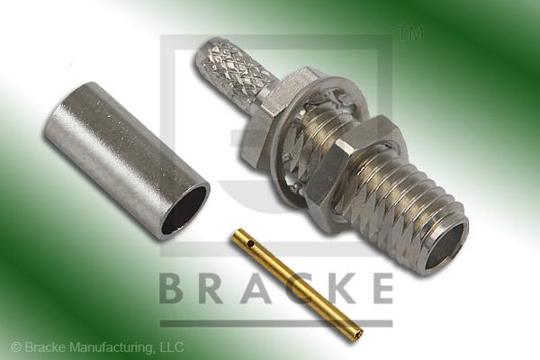 SSMA Female Bulkhead Connector Crimp RG188-Double, RG316-Double
