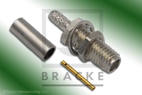 SSMA Female Bulkhead Connector Crimp LMR-100A, RG174, RG188, RG316