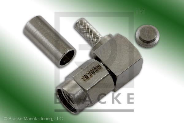 SSMA Male Right Angle Connector Crimp RG188-Double, RG316-Double