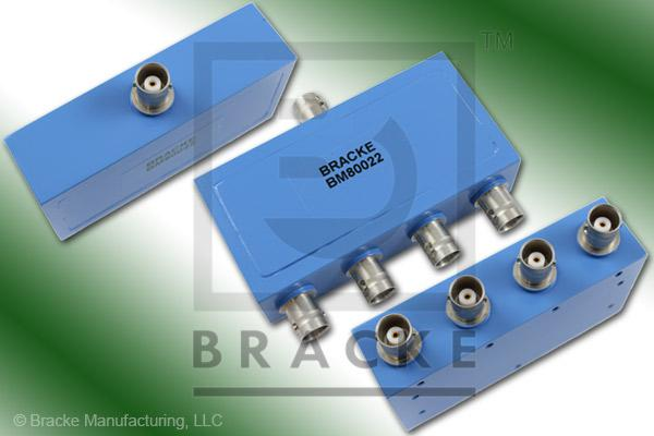 BNC Female Power Divider Frequency Range 10-1000 MHz 4 Output Ports, VSWR 1.70:1 Max