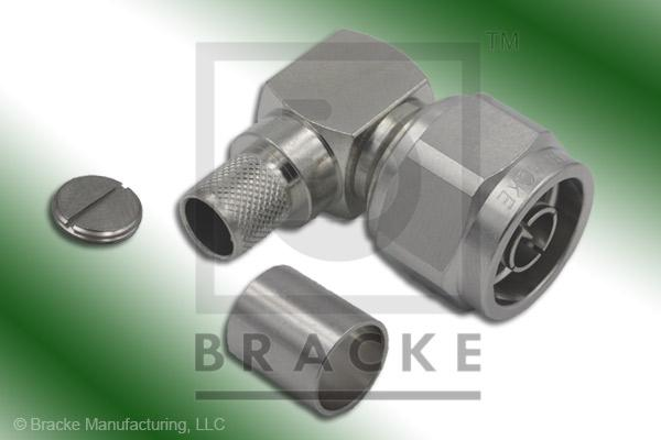 N Male Right Angle Low PIM Connector Crimp LMR-400, LMR-400-Ultra-Flex, TCOM-400