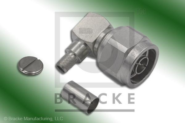 N Male Right Angle Low PIM Connector Crimp LMR-240, LMR-240-Ultra-Flex, RG8X, TCOM-240