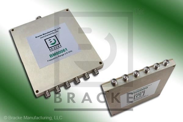 SMA Female Power Divider Frequency Range 2-6 GHz 6 Output Ports, Max VSWR 1.60:1