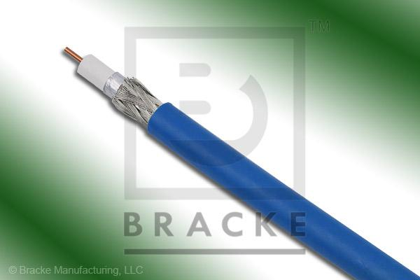 "75 Ohm, 59 Mini Blue Bulk Cable PVC Jacket, .159"" Dia., 2 Shields Solid Center Conductor .023"""