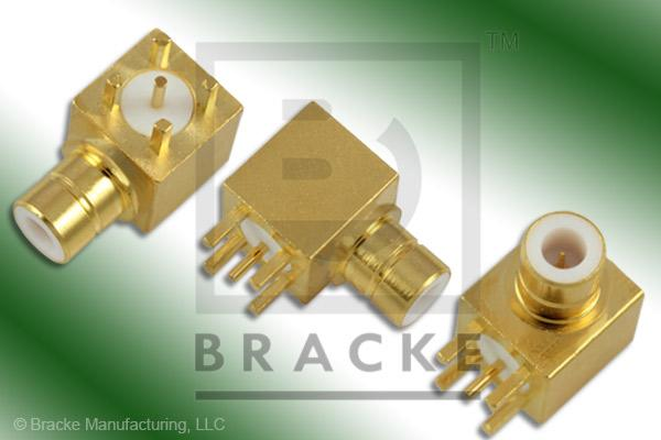 "75 Ohm SMB Jack Right Angle PC Mount Connector .038"" Round Contact"