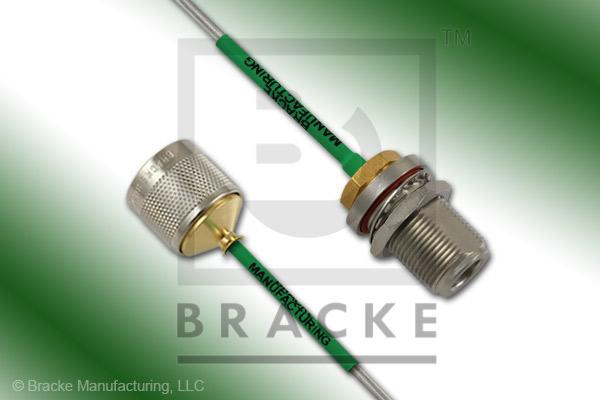 N Female Bulkhead to N Male Cable Assembly RG405-Alum