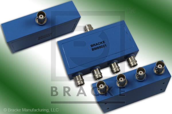 BNC Female Power Divider Frequency Range 2-500 MHz 4 Output Ports, VSWR 1.35:1 Max
