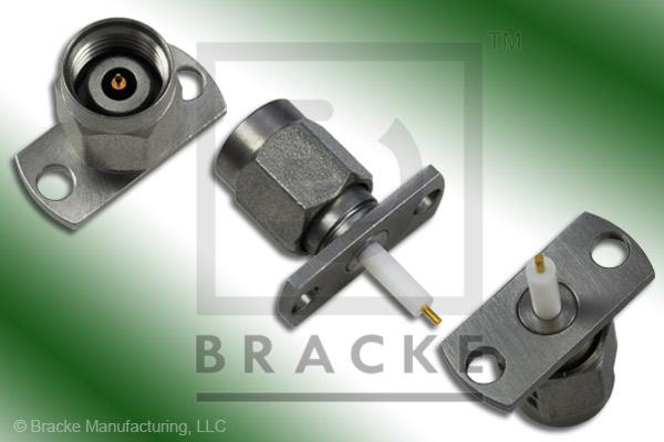 "2.4mm Male 2 Hole Panel Mount Extended Dielectric Connector .024"" Round Contact"