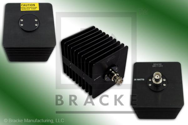 50 Ohm BNC Female High Power Termination, 25 Watts, 4 GHz VSWR 1.25:1 Max