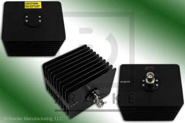 50 Ohm BNC Female High Power Termination, 50 Watts, 4 GHz VSWR 1.25:1 Max