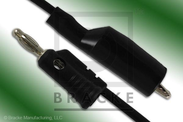 Alligator Clip to Stacking Banana Plug Assembly Patch Cord Single Black Lead, 72""