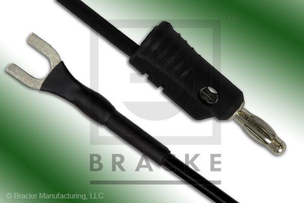 Stacking Banana Plug to Insulated Spade Lug Assembly Patch Cord Single Black Lead, 18""