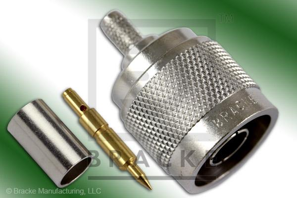 N Male Connector Crimp LMR-195, RG58, TCOM-195